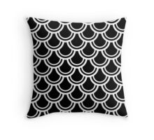 Black and White Deco Fans Pattern Throw Pillow