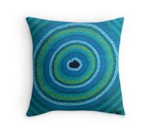 Secret Waterhole (Blue) Throw Pillow