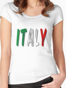 Italy Word With Flag Texture Women's Fitted Scoop T-Shirt