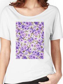 Purple Flower Pattern Women's Relaxed Fit T-Shirt