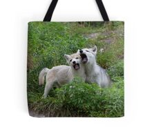Howling good time - Arctic wolf pups Tote Bag