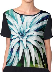 Blue Spiral Plant Abstract Chiffon Top