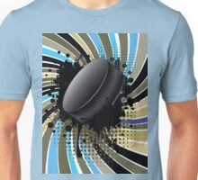 Hockey Puck on Background with Rays Unisex T-Shirt