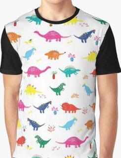 Colourful Dinosaur Pattern Graphic T-Shirt