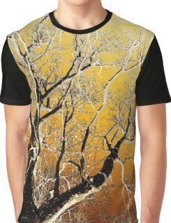 Gold Abstract Tree Graphic T-Shirt