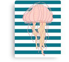 Jellyfish Blue White Bold Stripes Canvas Print