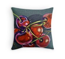 Tangle of Glossy Cherries Throw Pillow