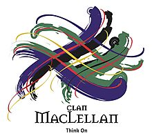 Clan MacLellan - Prefer your gift on Black/White tell us at info@tangledtartan.com  Photographic Print
