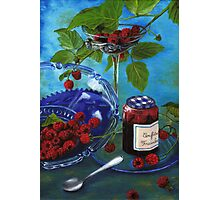 Still-life with raspberries Photographic Print