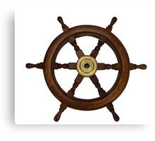 Ships wheel, boat wheel, old oak steering wheel Canvas Print
