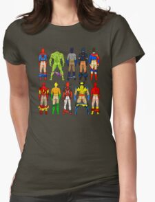 Superhero Butts Pattern on Black Womens Fitted T-Shirt
