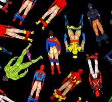 Superhero Butts Pattern on Black Sticker