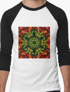 Peppy red and green pepper mandala Men's Baseball ¾ T-Shirt