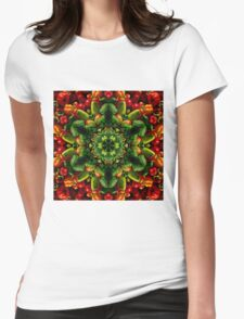 Peppy red and green pepper mandala Womens Fitted T-Shirt