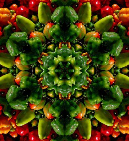 Peppy red and green pepper mandala Sticker
