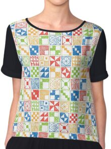 Abstract Squares Primary Chiffon Top