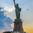 Sunset Statue of Liberty - New York City by Sherri Fink