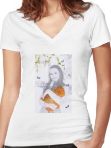 A Girl and her pet Hen Women's Fitted V-Neck T-Shirt