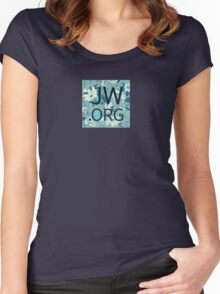 JW.org (white and blue flowers) Women's Fitted Scoop T-Shirt