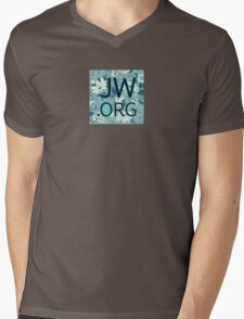 JW.org (white and blue flowers) Mens V-Neck T-Shirt