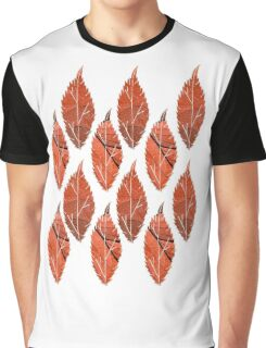 Red Leaf Pattern Graphic T-Shirt