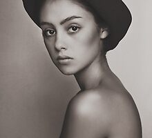 Brown portrait of girl in a hat. by littleflair