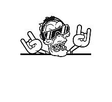 mauer rocker hard rock heavy metal musik party feiern band konzert festival sonnenbrille untoter böse ekelig monster horror halloween zombie  Photographic Print