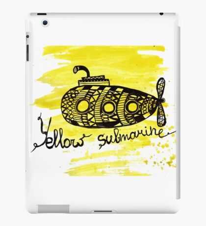 Yellow submarine watercolor graphic marker drawing iPad Case/Skin
