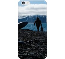Backlit Zodiac crew come ashore beside anchor iPhone Case/Skin