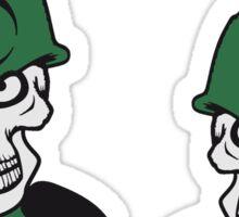 mauer rahmen 2 soldaten maschinengewehr horror armee helm krieg zombie skelett böse soldat kämpfer waffe biohazard symbol zeichen  Sticker