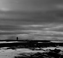 Black and white man on Arctic horizon by Nick Dale