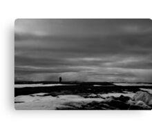 Black and white man on Arctic horizon Canvas Print