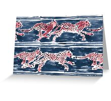 SPEEDY CHEETAHS - NAVY Greeting Card
