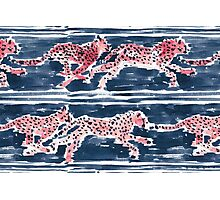 SPEEDY CHEETAHS - NAVY Photographic Print