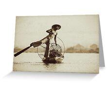 Leg Oar Fisherman - Inle Lake, Myanmar Greeting Card