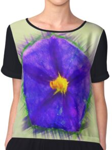 Digitally manipulated purple garden flower with lush green background  Chiffon Top
