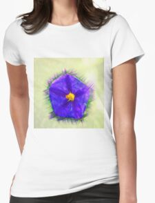 Digitally manipulated purple garden flower with lush green background  Womens Fitted T-Shirt