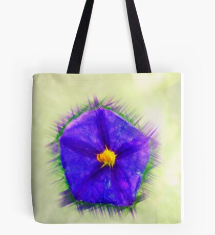 Digitally manipulated purple garden flower with lush green background  Tote Bag