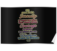 Serenity Courage Wisdom Colorful Text Poster