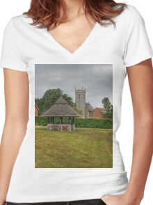 Woodbastwick village green and church Women's Fitted V-Neck T-Shirt