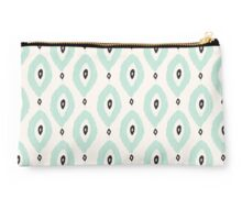 Bohemian Ikat - Dark gray, light blue and cream pattern Studio Pouch