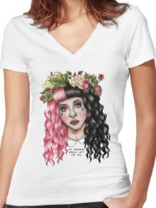 Flower Crown  Women's Fitted V-Neck T-Shirt