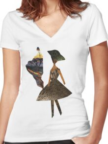 Stylish cutout young fashionable woman Women's Fitted V-Neck T-Shirt