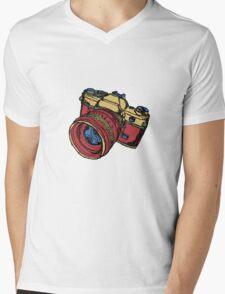 Classic 35mm SLR Camera in Fall Colors Mens V-Neck T-Shirt