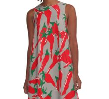 Hot Red Cherry Peppers A-Line Dress