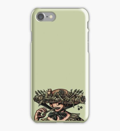 Woman in Hat Decorated with Vegetables iPhone Case/Skin