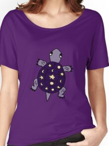 Cool Artistic Purple Turtle with Moon and Stars Women's Relaxed Fit T-Shirt