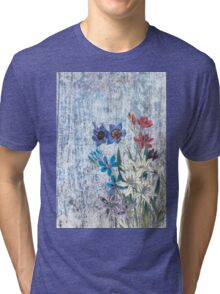 Blue Victorian Flowers Floral Collage Tri-blend T-Shirt