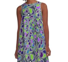 Blue Green Leaves A-Line Dress