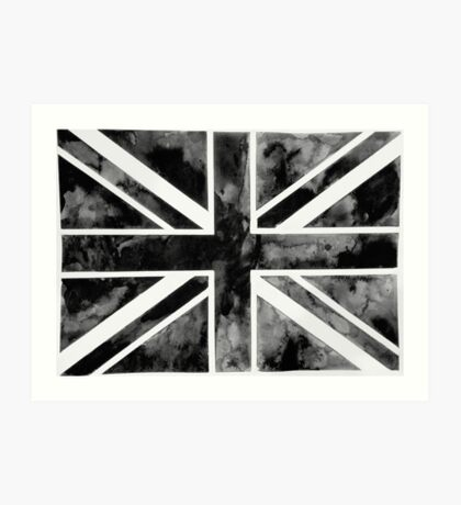 Black Paint Union Jack  Art Print